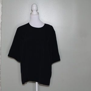 everlane women black zipper Triacetate shirt SZ 12